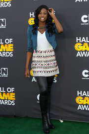 Coco Jones wore a hip drawstring mini dress with an aztec print skirt at the 3rd Annual Cartoon Network Hall of Game Awards.