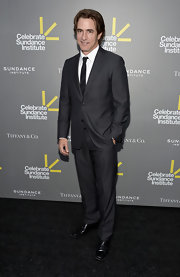 Dermot Mulroney chose a dark charcoal gray two-button suit for his look at the Celebrate Sundance Institute Benefit.