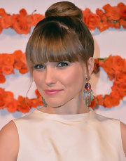 Sophia Bush's dangle earrings added just a touch of contemporary style to her classic frock.