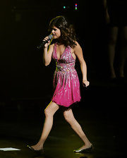 Selena Gomez performed in the Concert For Hope wearing a wear of metallic silver ballet flats.