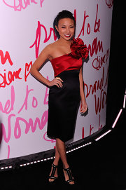 Jeannie Mai wore this embellished one-shoulder dress to the Diane Von Furstenberg Awards.