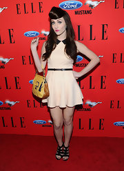 Amy Heidemann paired her super-sweet frock with a pair of strappy black sandals for the 3rd annual 'Elle' Women in Music event.