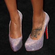 Eva Pigford's lavender studded evening pumps stole the show during her appearance at the Black Women in Music event.