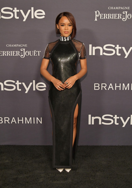 Serayah went the sporty-glam route in a black Versus Versace chainmail dress with sheer sleeves and double slits at the 2017 InStyle Awards.