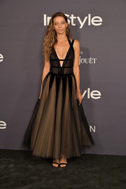 Angela Sarafyan was a goth princess in a black Georges Chakra Couture lace gown with a plunging neckline and a nude underlay at the 2017 InStyle Awards.