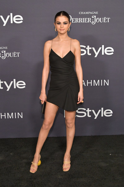 More Pics of Selena Gomez Strappy Sandals (1 of 11) - Heels Lookbook - StyleBistro [clothing,dress,cocktail dress,shoulder,fashion model,little black dress,fashion,hairstyle,joint,footwear,arrivals,selena gomez,the getty center,los angeles,california,3rd annual instyle awards]
