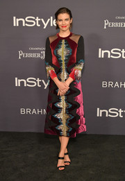Lauren Cohan electrified in this beaded, mixed-material cocktail dress by Mary Katrantzou at the 2017 InStyle Awards.