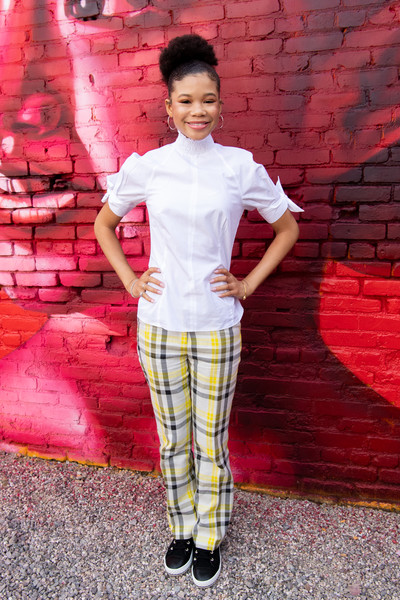 More Pics of Storm Reid Afro Puff (5 of 15) - Storm Reid Lookbook - StyleBistro [plaid,clothing,pattern,tartan,pink,textile,design,los angeles,california,national day of racial healing,national day of racial healing at array,storm reid]