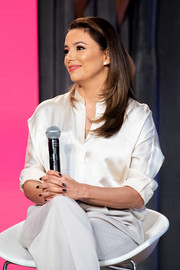 Eva Longoria paired a black mani with a cream-colored outfit for the National Day of Racial Healing.