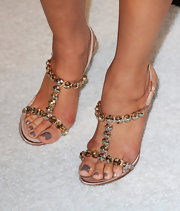 Ali wore a sparkling pair of jewel sandals with her champagne colored lace dress. Love the mushroom colored nail polish.