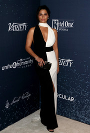 Camila Alves was classic in a black-and-white scarf-detail gown by Paule Ka at the unite4:humanity event.