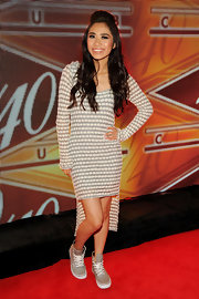 Jessica Sanchez opted for a white and silver patterned fishtail dress for her look at the 40/40 Club celebration in NYC.