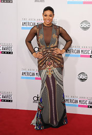 Jordin Sparks showed an affinity for print in this artistic, sheer-to-there gown at the 2012 AMAs.