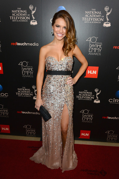 More Pics of Chrishell Stause Dangling Gemstone Earrings (1 of 3) - Chrishell Stause Lookbook - StyleBistro [flooring,beauty,shoulder,gown,fashion model,joint,cocktail dress,carpet,dress,girl,arrivals,chrishell stause,beverly hills,california,the beverly hilton hotel,daytime emmy awards]