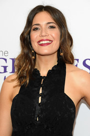 Mandy Moore's hair flowed past her shoulders in boho waves at the Gracie Awards.
