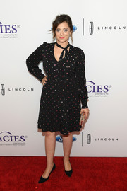 Rachel Bloom attended the Gracie Awards wearing a beaded black dress with choker detail.