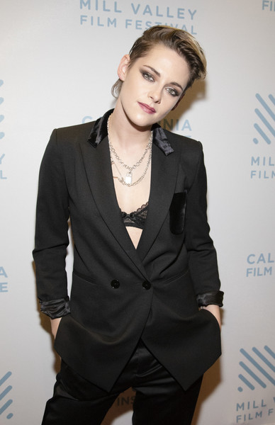 Kristen Stewart paired a black Sandro blazer with Bella Freud trousers for the 2019 Mill Valley Film Festival.