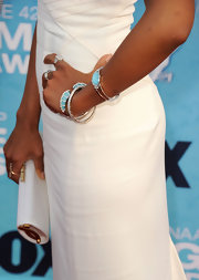 Kerry Washington rocked a silver and turqouise bangle bracelet at the 42nd Annual NAACP Image Awards.