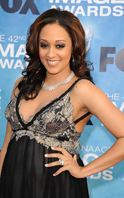 Tia Mowry amped up her neckline with a sparkling diamond collar necklace.