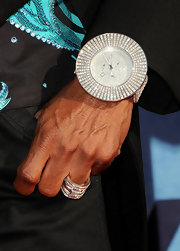 Wendell James gave his look a serious boost with a diamond clad sterling watch.