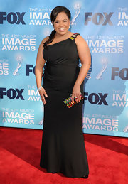 Chandra donned a one-shoulder black jersey dress with shoulder beading at the NAACP Image Awards.