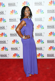 Carmelita Jeter wore this lilac backless gown to the NAACP Image Awards.