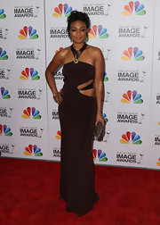 Tatyana Ali wasn't afraid to show some skin in this chocolate cutout gown at the NAACP Image Awards.