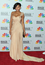 Meagan Good wore this dazzling single-shoulder gown with a beaded shoulder to the NAACP Image Awards.