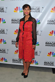 Tracee Ellis Ross wore a print and mesh shirtdress to the NAACP Image Awards Nominations Press Conference.