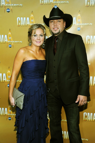 Jason Aldean dressed up his jeans with a pinstriped blazer and matching vest.