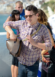 Elijah Wood was spotted carrying a leather messenger bag at the Sitges Film Festival.