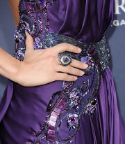 Carrie Underwood paired her embellished dress with a sapphire blue cocktail ring.
