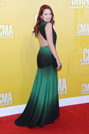 Redheads were born to wear rich green hues like this one. Katie Armiger's open-back ombre design was totally stunning, right?