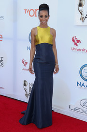 Shaun Robinson looked absolutely elegant at the NAACP Image Awards in a two-tone racer-neckline gown by Douglas Tapia. The iridescent yellow looked simply divine against the navy blue.