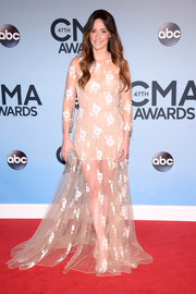 Kacey Musgraves was all dolled up in a nude lace gown by Blumarine during the CMA Awards.