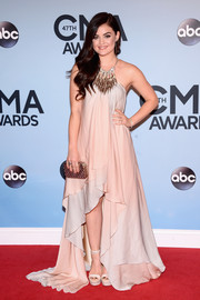 Lucy Hale looked downright ethereal in a flowy Julien MacDonald fishtail gown during the CMA Awards.