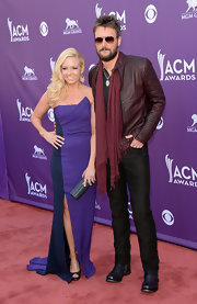 Eric Church looked ever the rock star in this burgundy leather jacket.