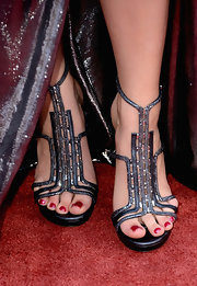 Katie Armiger chose these sparkly gunmetal sandals that had just a touch of Art Deco style.