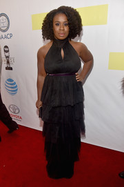 Uzo Aduba went ultra feminine in a tiered black halter gown by Cinq a Sept at the NAACP Image Awards.