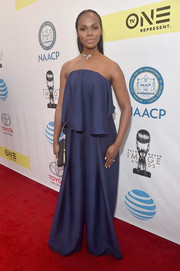 Tika Sumpter sported a strapless, draped jumpsuit by Solace London at the NAACP Image Awards.
