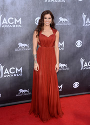 Cassadee Pope was a modern-day goddess in this rust-colored Maria Lucia Hohan Grecian gown during the ACM Awards.