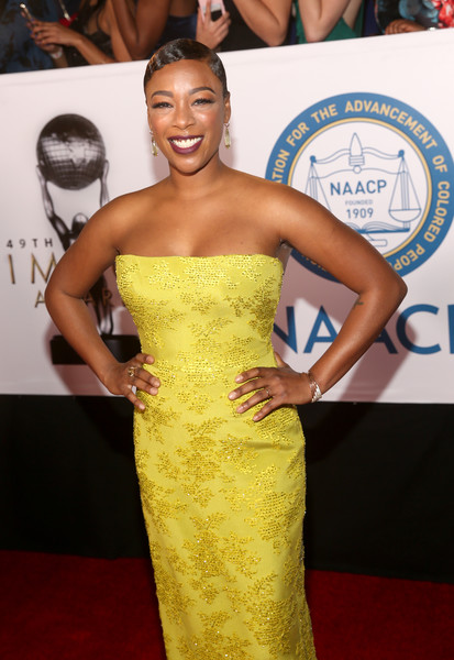 More Pics of Samira Wiley Strapless Dress (3 of 10) - Dresses & Skirts Lookbook - StyleBistro [red carpet,hair,dress,red carpet,clothing,shoulder,yellow,strapless dress,carpet,hairstyle,fashion,samira wiley,naacp image awards,pasadena civic auditorium,california]