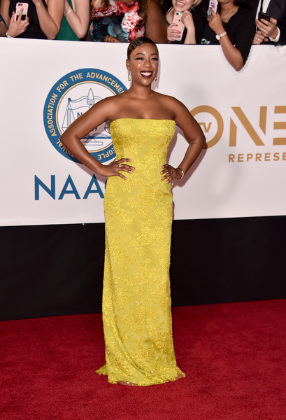 More Pics of Samira Wiley Strapless Dress (1 of 10) - Dresses & Skirts Lookbook - StyleBistro [red carpet,dress,red carpet,clothing,shoulder,carpet,gown,strapless dress,premiere,yellow,flooring,samira wiley,naacp image awards,pasadena civic auditorium,california]