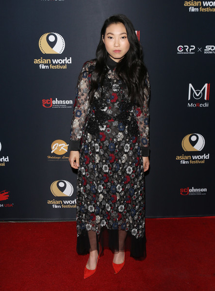 More Pics of Awkwafina Pumps (2 of 10) - Heels Lookbook - StyleBistro [in harms way,red carpet,clothing,carpet,premiere,flooring,fashion,footwear,dress,long hair,outerwear,awkwafina,arclight culver city,california,4th annual asian world film festival - closing night screening]
