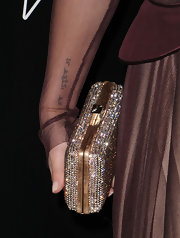 We caught a glimpse of Hayden's lettered tattoo at the Hollywood Domino Gala.