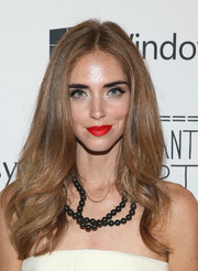 Chiara Ferragni paired her strapless dress with a layered beaded necklace.