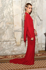 Leigh Lezark looked exquisite in this draped red backless gown at the amfAR Inspiration Gala.