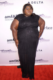 Gabrourey sparkled in a beaded black gown at the amfAR Inspiration Gala New York.