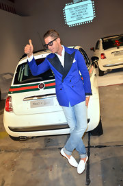 Lapo Elkann was snazzy in a blue blazer and white tassel loafers during the 500 by Gucci cocktail party.