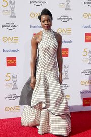 Danai Gurira looked festive in a striped halter gown with a voluminous skirt at the 2019 NAACP Image Awards.